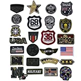 25 Pcs Iron On Tactical Patches, Assorted Morale Military Sew On Patches, Embroidered Combat Skeleton Applique for Motorcycle Biker Vest, Operator Cap, Cosplay, Airsoft and Paintball