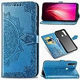 Funda para Xiaomi Redmi Note 8, Carcasa Libro con Tapa Flip Case Antigolpes Golpes Cartera PU Cuero Suave Soporte con Correa Cordel - Mandala Azul