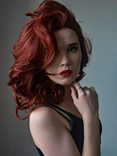 Imstyle Auburn Lace Front Wigs Short Wavy Ginger Wig For Women Copper Red Synthetic Heat Resistant Hair Wigs Natural Hairline With Glueless Wig Cap Shoulder Length 16 Inch