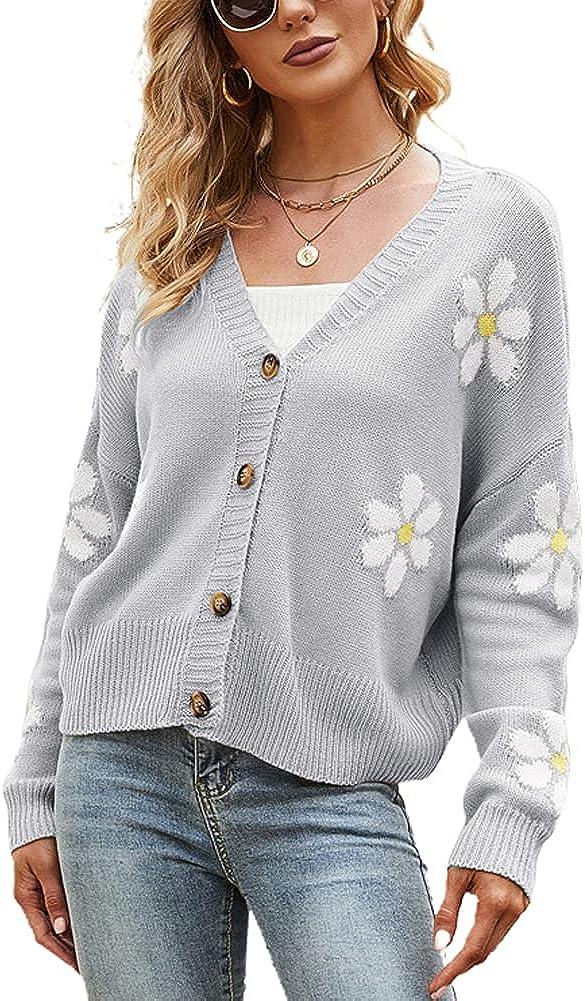 chouyatou Women's Fall Cute Daisy Button Jacquard Knit Cardigan Sweater Jacket