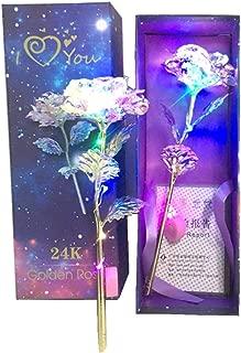 MyGiftsmate galaxy crystal rose flower 24k infinity eternity handmade led flower roses light bear lovers birthday cute jewelry gift women girls 24k unique gifts valentine girl her wife anniversary engagement love