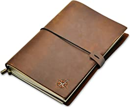 A5 Leather Notebook - A5 Refillable Travel Journal   Hand-Crafted Genuine Leather - Perfect for Writing, Poets, Travelers, as a Diary   Blank Inserts   22 x 15cm/8.5x6