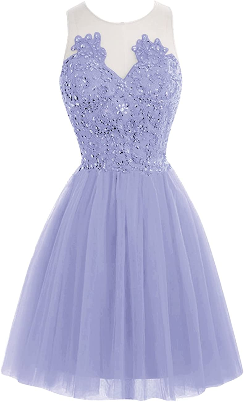 JAEDEN Short Lace Homecoming Dress Tulle Prom Party Gown See Through Back Cocktail Dress Sleeveless