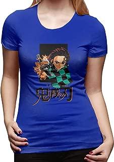 UXUEYING Demon Slayer Kimetsu No Yaiba Kamado Tanjirou T-Shirt Blouses Women Short Sleeve Tops