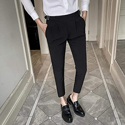 Qingsb Pantalones de Vestir de Boda Blancos para Hombres ...