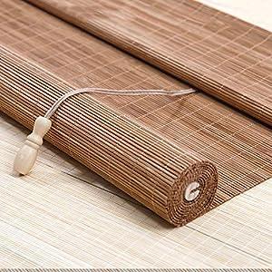 Persiana Enrollable Cortina de Bambú Retro Sombreado Anti-Polilla a Prueba de Humedad, para Puertas/Ventanas/Balcones,60x100cm