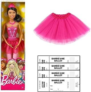 Multiple Barbie Ballerina Doll Dress up for Girls Dance Bundle with G&G Tulle Tutu Skirt for Girls and Ballerina Color Your own Tickets (Brunette Hair)