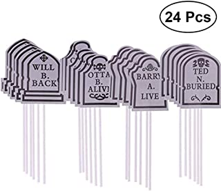 ASSUN Halloween Cake Decorations Cupcake Toppers Tombstones Graveyard Cupcake Toppers for Halloween Party Supplies 24 Pieces