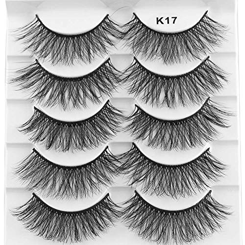 SKONHED 5 Pairs Woman's Fashion Wispy Lashes Volume Length Natural 3D Mink Hair False Eyelashes Cross Long Extension Tools