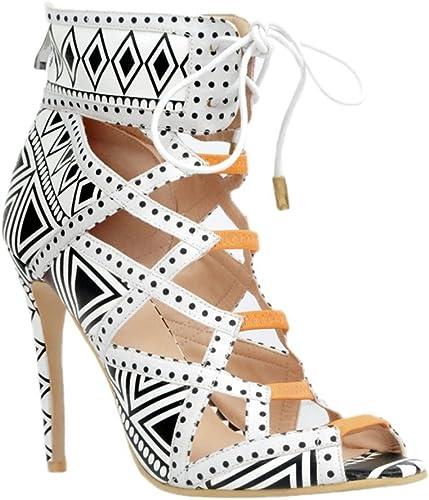 Kolnoo Femmes Fashion Fashion Handmade 10cm sandales à talons hauts Chaussures blanc