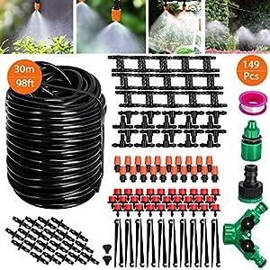 Tencoz Sistema de riego de jardín, 30m Kit de riego por Goteo Riego Manguera de 1/4″ automático Rociadores automáticos Kit de riego de jardín para Jardines, Macizo de Flores, Plantas de Patio-149pcs