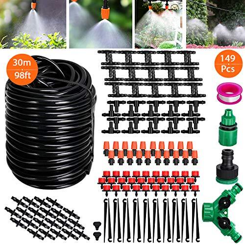 Tencoz Sistema de riego de jardín, 30m Kit de riego por Goteo Riego Manguera de 1/4 automático Rociadores automáticos Kit de riego de jardín para Jardines, Macizo de Flores, Plantas de Patio-149pcs