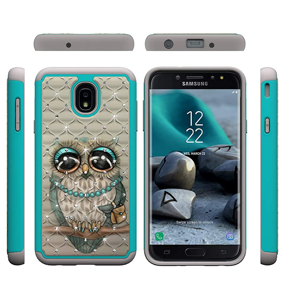 Samsung Galaxy J7 2018/J7 Aero/J7 Aura/J7 Crown/J7 Top/J7 Refine/J7 Eon/J7 Star Case, Love Sound Rhinestone Crystal Bling Hybrid Hard PC Back & TPU Soft Silicone Shockproof Cover - Owl