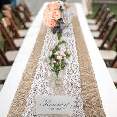 New_Soul 12'X108' Vintage Burlap Table Runners White Lace Hessian Table Runner Natural Jute for Wedding Festival Event Table Decoration