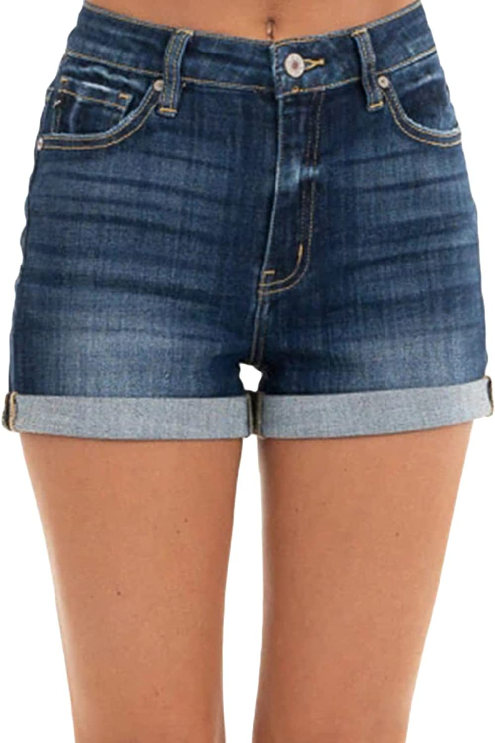 Women's Solid Color Rolled Hem Denim Shorts High Waisted Stretchy Juniors Jeans Shorts Casual Vintage Hot Short Pants (Dark Blue,Small)