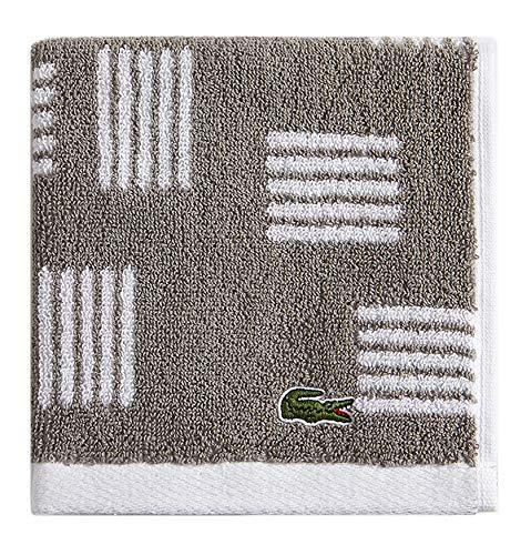 "Lacoste Raster 100% Cotton Towel, 13"" W x 13"" L Wash, Meteorite Grey"