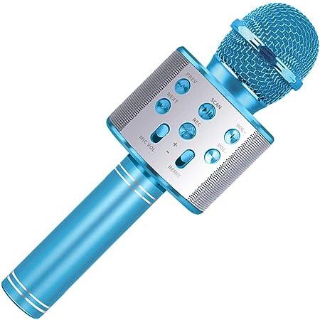 Celecstan Karaoké pour Enfants, 4-12 Ans Fille Cadeau d'anniversaire Chantant Enfants Karaoké Microphone Jouets pour Enfants 5-10 Ans Cadeau de Musique Fille Bleu Microphone