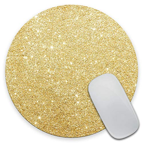 Amcove Gold Glitter Gaming Round Mouse Pad Custom Design,Fashion Non-Slip Rubber Square Mousepad for Gift Support Computers Laptop 7.9 x 7.9 x 0.12 Inch