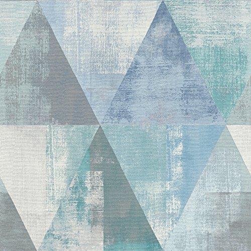 Rasch 410907 Vliestapete, Blau, Türkis, Grau, Silber