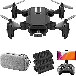 LS-MIN Mini Drone RC QuaAdcopter Cámara 13mins Tiempo Vuelo 360° Flip 6-Axis Gyro Gesto Foto Video Pista Vuelo Altitud Control Retención Remoto sin Cabeza para Niño Adulto (Negro,1080P&3 Batería)