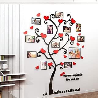Alicemall Vinilos Arbol con 12pcs Marcos de Foto Pegatinas de Pared con Hojas Rojo Centro 129*160cm para Sala de Estar Salon Pegatinas 3D