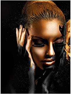 African American Girl Canvas Print Wall Art Décor Fashion Female Model with Black and Gold Makeup on Face Artwork Abstract Black Woman Poster for Bedroom Bathroom Decor, No Framed,60x90cm