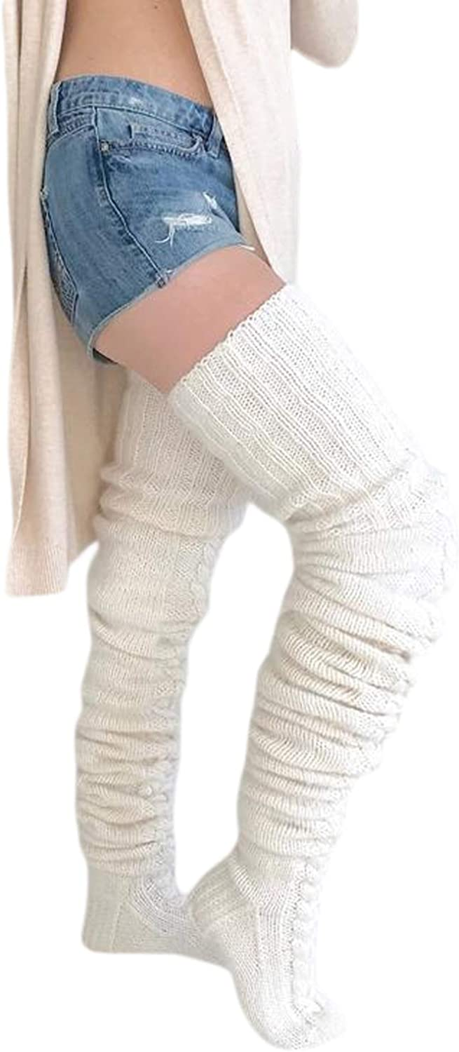 Women's Cable Knit Thigh High Boot Socks Leg Warmers Winter Solid Color Socks Thick Fashion Elasticity Knee Socks