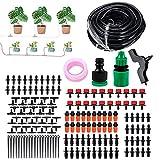 Sistema de riego de jardín, aspersor automático, juego de riego de gotas de 15 m, kit de riego micro Drip DIY 9/12 mm, manguera, invernadero, riego de gotas (165 unidades)