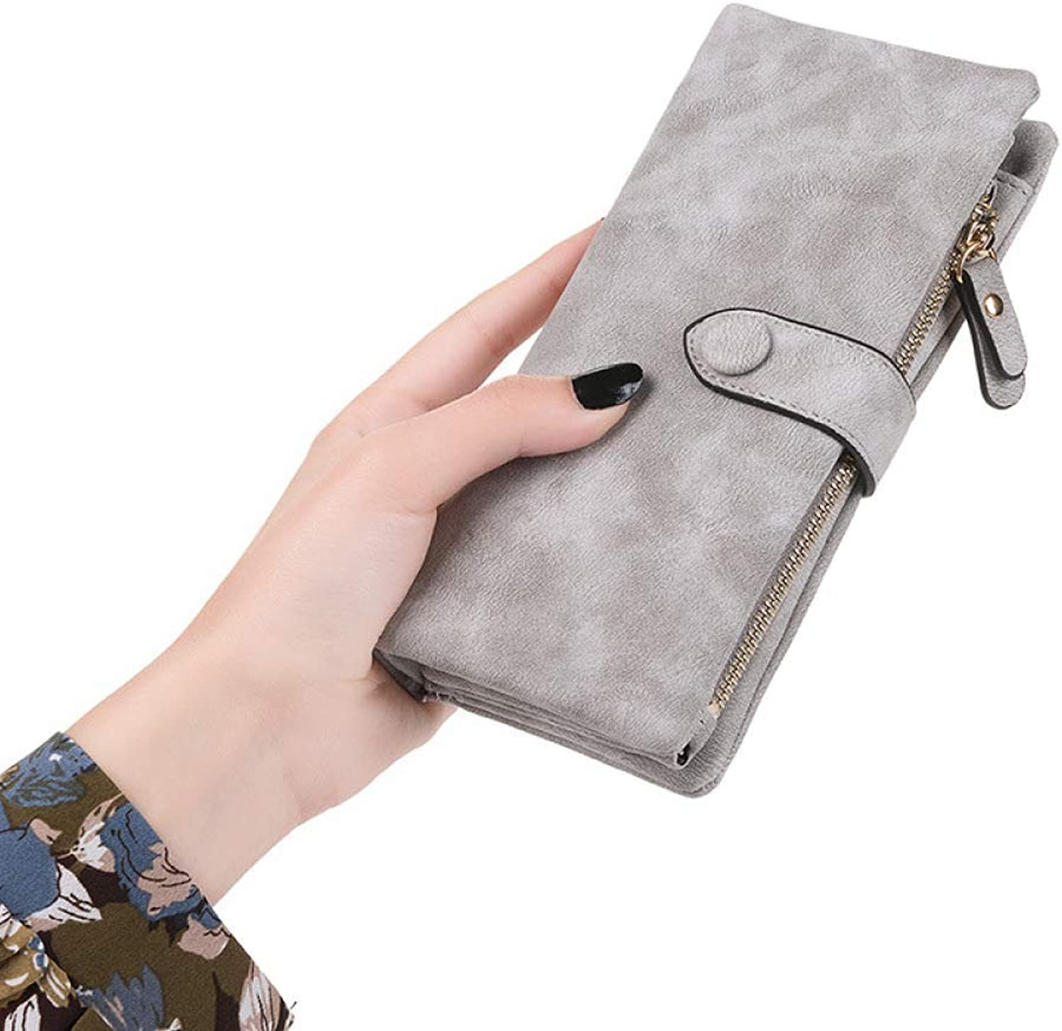 Cross Womens Wallet Purses Multi Credit Card Large Capacity Long Wallet 30 Card Position for Work (color   Grey)