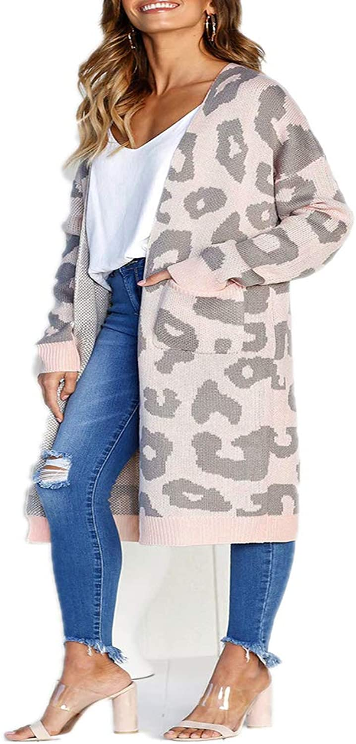 BCVHGD Leopard Print Long Cardigan Ladies Autumn Long Knit Sweater Women Large Coat Casual Jacket Winter Clothing