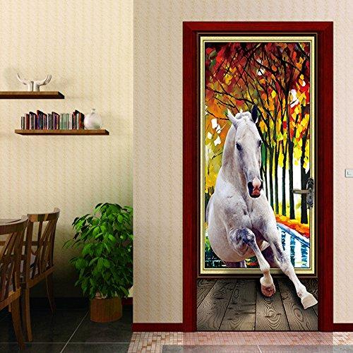 3D Wohnzimmer Türtapete Wandbilder Selbstklebend Tür Poster Pvc Vinyl Entfernbar Tier Pferderennen Herbstlaub Mauer Aufkleber Zuhause Dekor 95 X 215 Cm