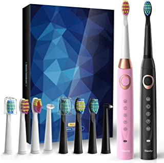 2 Sonic Electric Toothbrushes 5 Modes 8 Brush heads USB Fast Charge Powered Toothbrush Last for 30 Days, Built-in Smart Timer Rechargeable Toothbrushes for Adults and Kids (1 Black And 1 Pink) SY-508