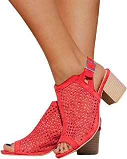 Womens Perforated Booties Open Toe Chunky Block Heel Slingback Cutout Sandals