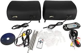 Qii lu Car DVD,2pcs 9 Inch HD Car Headrest DVD Palyer Monitor Game Radio Audio Video MP3 Player Zipper Cover