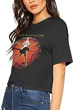 Womens Earth Wind & Fire Music Band Bare Midriff T-Shirt Cool Midriff-Baring Tee Shirt