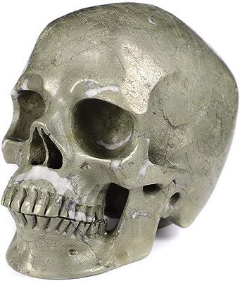 "Skullis 5.0"" Pyrite Super Realistic Crystal Skull, Hand Carved Gemstone Fine Art Sculpture, Reiki Healing Stone Statue."