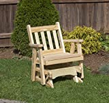 Amish Heavy Duty 600 Lb Mission Pressure Treated Porch Patio Garden Lawn Outdoor Glider Chair-2 Feet-Natural-Made in USA