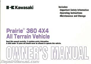 99987-1146 2003 Kawasaki Prairie KVF360-C1 ATV Owners Manual