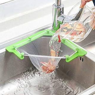 Mesh sink zeef voor keuken driehoekige mesh sink zeef met 100 stuks sink zeef bag, opknoping netto bag keuken zeef fijne m...