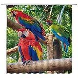 SZTNSM Duschvorhang mit Vogelmotiv, tropischer Regenwald, bunte Papageien, Polyester, 177 x 178 cm, mit 12 Haken
