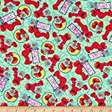 EXCLUSIVE Sesame Street Tossed Elmo Green Fabric by the Yard