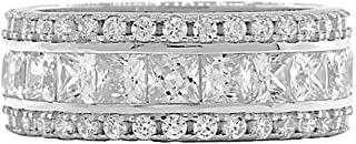 Colorado: 5.85ct Russian Ice on Fire CZ 3 Row Stacked Eternity Band Ring 925 Silver, 3201