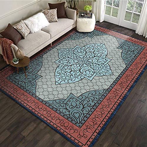 VitaLity Wohnzimmer Teppich Mehrfarbig Farbenfroh,Rechteckiger Retro-Teppich im Europäischen Stil,Anti Rutsch Teppichunterlage 200X300cm
