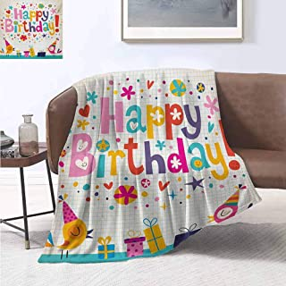jecycleus Kids Birthday Commercial Grade Printed Blanket School Theme Math Student Note Pad Floral Rainbow Colored Party Quote Print Queen King W70 by L84 Inch Multicolor