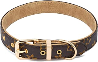LLGGVE Padded Dog Collar PU Leather Checkered Collars with Heavy Duty Center Ring