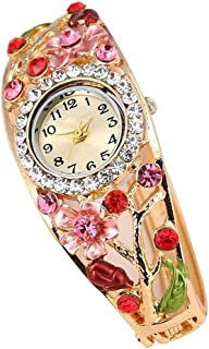 Women Watch Analogue Quartz Movement Wrist Watches with Alloy Armband Luxury Crystal Flower Decor Watches with Button Batt...