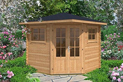 Alpholz 5-Eck Gartenhaus Sonny-B aus Massiv-Holz | Gerätehaus mit 28 mm Wandstärke | Garten Holzhaus inklusive Montagematerial | Geräteschuppen Größe: 250 x 250 cm | Spitzdach