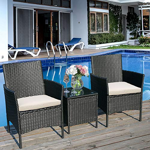 BTM Rattan Garden Set, 2 Chairs and 1 Small Glass Table Set, 2 Seater Bistro Set for Patio or Balcony