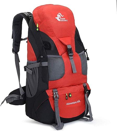 YNNB 50L Voyage Randonnée Sac à Dos, Trekking Camping Sac à Dos Résistant à l'eau Grande école Ordinateur portable Sac Ordinateur Vacances en Plein Air Sports Daypack pour Hommes Femmes,rouge