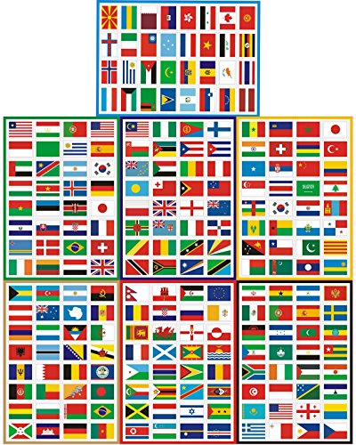 T&B Countries Flags Stickers 224PCS Multi Territorial Maps Nations Patterns Face Stickers Travel Stickers Childrens Room Decor Labels Football Team FIFA World Cup A4 7PACKS